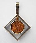 Danish Abstract-Form Amber Pendant, c. 1975