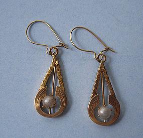 European 18kt Gold Drop Earrings, c. 1950