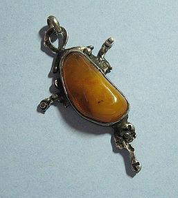 Polish Silver and Amber Abstract Pendant, c. 1975
