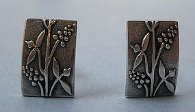 Sterling Embossed Earrings, c. 1950