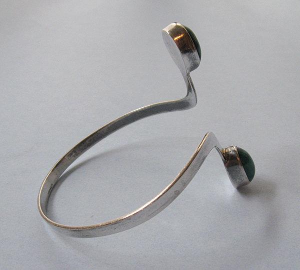 Sterling and Ceramic Wraparound Bracelet, c. 1970