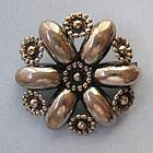 Danish Sterling Flower Pin, c. 1960
