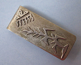 Sterling Money Clip, Abstract Design