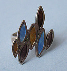 Sterling and Enamel Ring, c. 1975