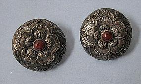 Peruvian Sterling and Carnelian Earrings, c. 1955