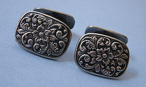 Embossed Floral Silver Cuff Links, c. 1960