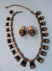 Ramé Copper Necklace and Earrings, c. 1965