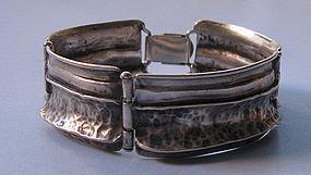 Sterling Hinged Panel Bracelet, c. 1960