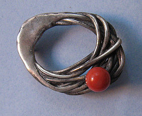 Modernist Sterling and Coral Pin by Phyllis Sklar