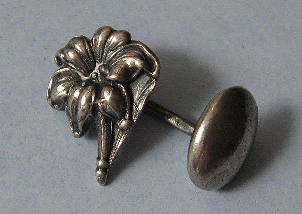 Sterling Flower Cuff Links, c. 1900