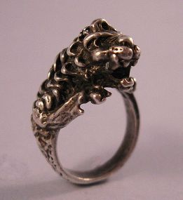 Sterling Silver Lion Ring