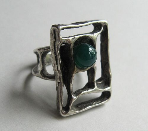 Silver Abstract Ring Set with Chrysoprase Bead
