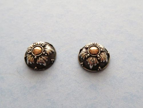 Mixed-Metal Arts and Crafts Earrings