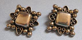 Mexican Sterling Silver Earrings, c. 1960