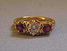Three-Stone 18kt Ruby and Diamond Ring