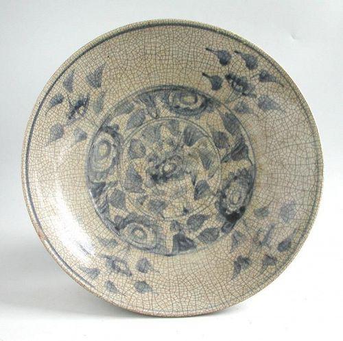Large Chinese Ming Dynasty Blue & White Crackle-Glazed Dish (32.5 cm)