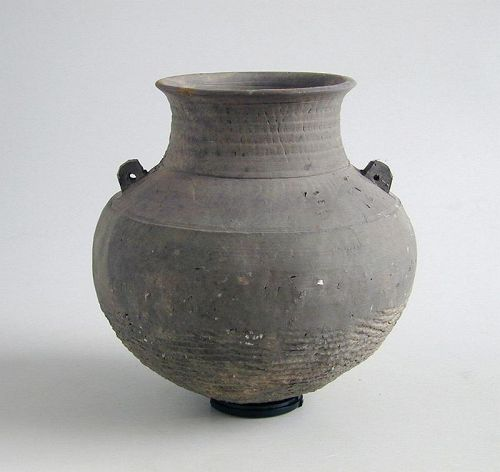 SALE Chinese Eastern Zhou Cord-Impressed Pottery Jar (770 - 221 BC)