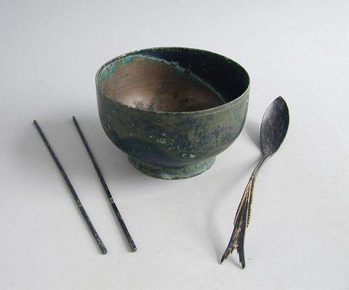SALE Fine Korean Koryo Dynasty Bronze Bowl, Spoon & Chopsticks