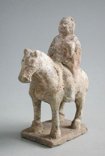 Rare Chinese Northern Zhou Dynasty Painted Pottery Horse & Rider