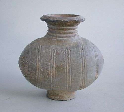 Very Rare Small Chinese Han Dynasty Pottery Cocoon Jar
