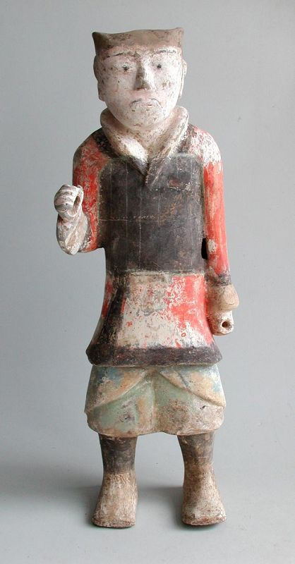 Tall Chinese Western Han Dynasty Painted Pottery Soldier (206BC - AD8)