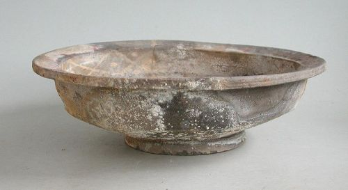Rare Large Chinese Han Dynasty Painted Pottery Footed Dish