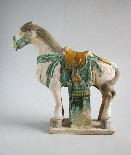 Large Chinese Ming Dynasty Glazed & Painted Pottery Horse