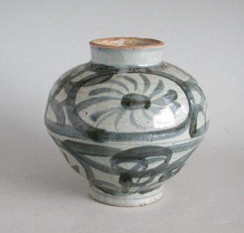 Chinese Late Ming Dynasty Blue & White Porcelain Jar