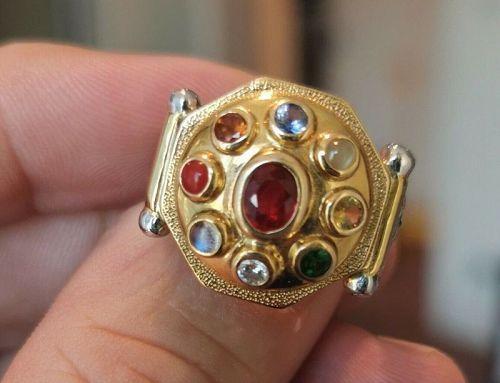 Stunning Nine Stone Navratna Astrological 18k Ring