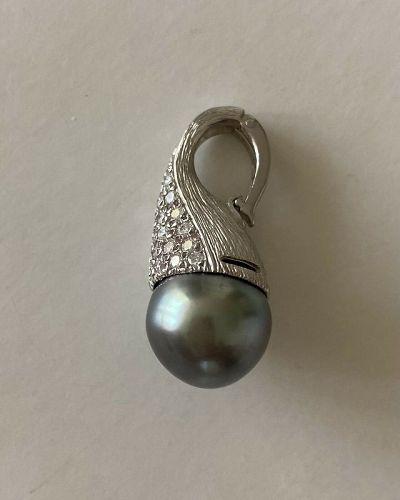 Stunning Black South Sea Pearl & Diamond Platinum Pendant