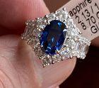 Stunning Unheated 2.13ct Burma Blue Sapphire Platinum Diamond Ring GIA