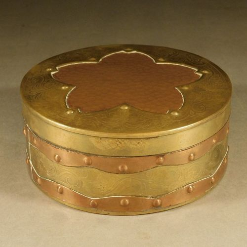 Arts and Crafts Period Brass, Copper Covered Box, Cherry Blossom Motif