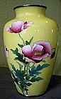 Yellow Japanese Cloisonne Vase - Oriental Poppies