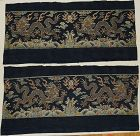 Chinese Silk Double Dragon Panels