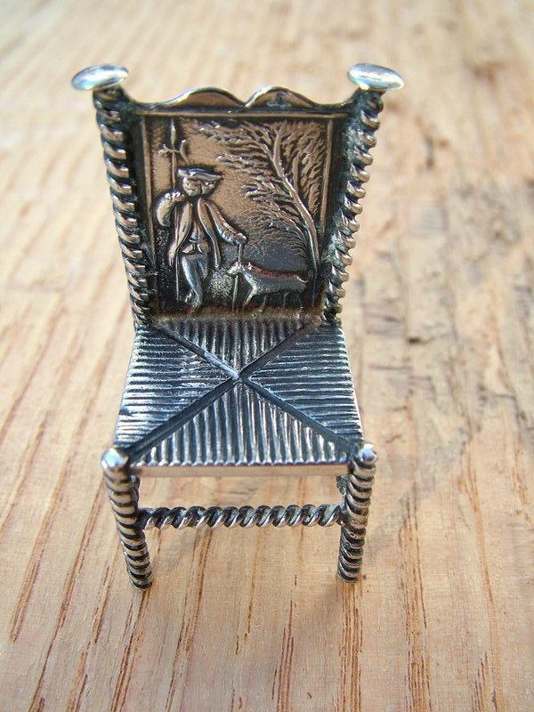 Dutch miniature silver chair, H. Hooijkaas,