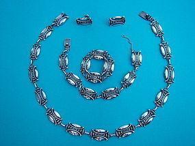 Carl Ruopoli suite of Art Deco silver jewelry