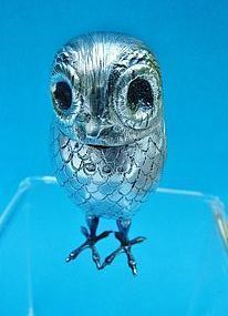 Netherlands silver owl form condiment box