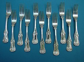 11 coin silver King's banquet sized dinner forks
