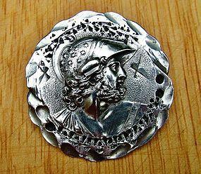 coin silver Medallion brooch