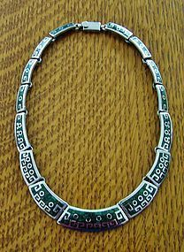 "inlaid enamel ""Aztec"" necklace"
