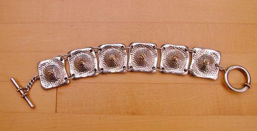 Peter Brams sterling & 14k cast link bracelet