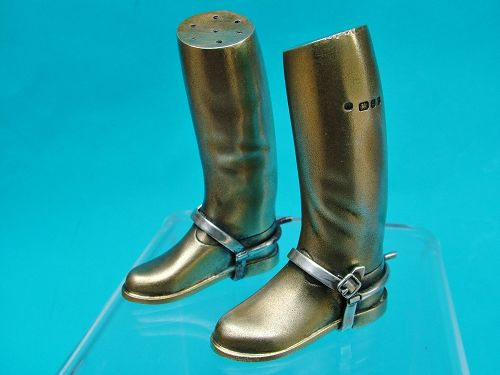 novelty sterling riding boot salt and pepper set, Theo Fennell,