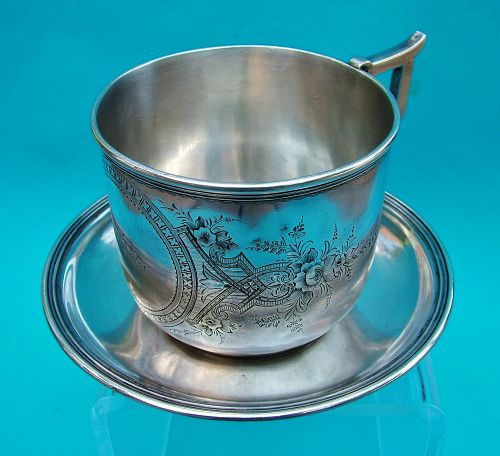 Schulz & Fischer sterling cup and saucer, San Francisco, CA