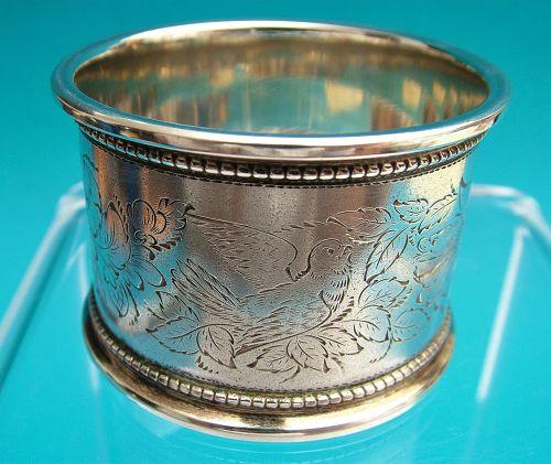 charmingly engraved Victorian era napkin ring