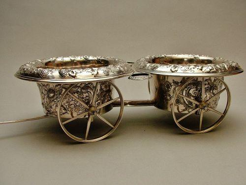 American coin silver wine trolley, Francis W. Cooper, NY circa 1850