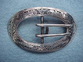 KERR acid etched Art Nouveau belt buckle