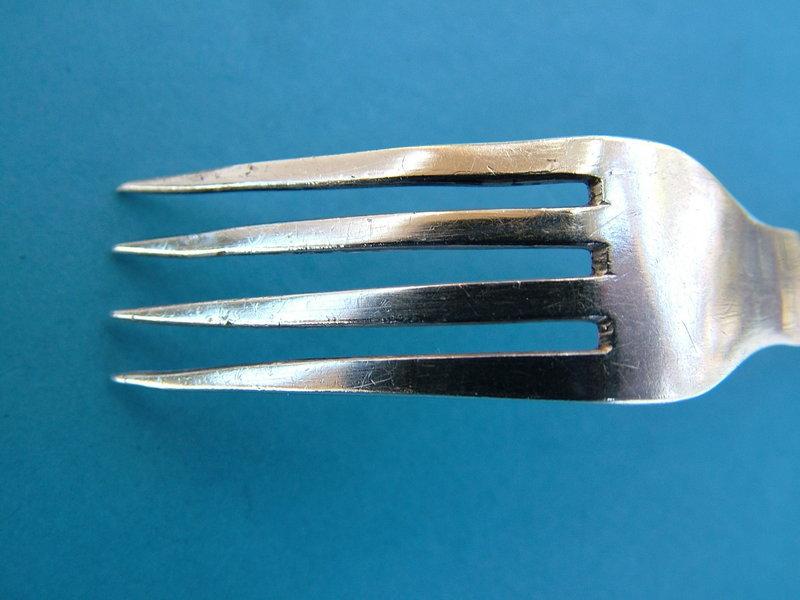 coin silver youth fork circa 1820,