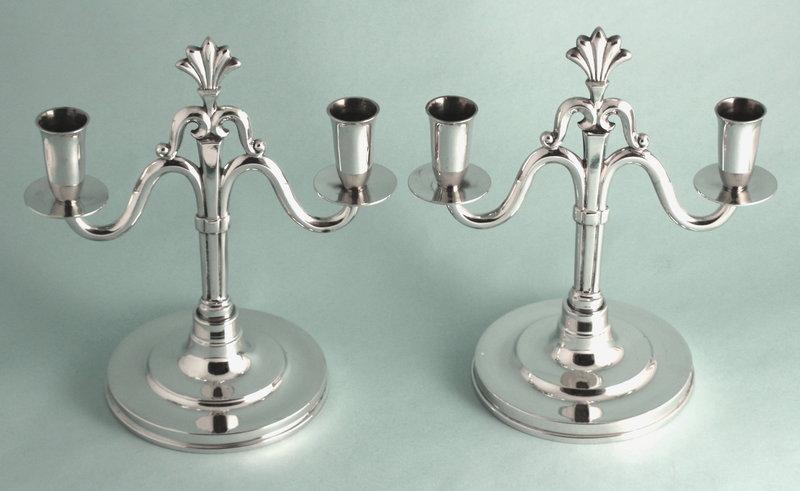 Pair Hallberg Art Deco Pewter Candle Holders