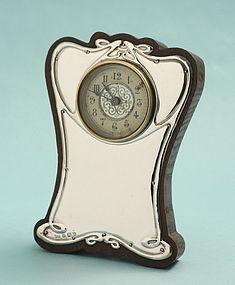 British Art Nouveau Silver Clock