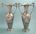 Pair of Large WMF Figural Art Nouveau Vases